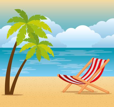 tropical beach summer scene vector illustration design