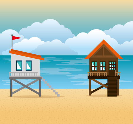 beach with lifeguard tower scene vector illustration design  イラスト・ベクター素材