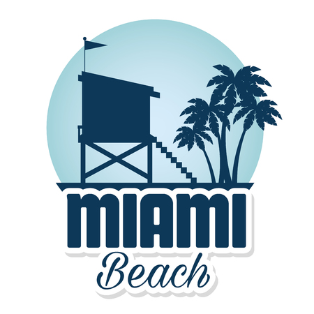 miami beach summer icons vector illustration design