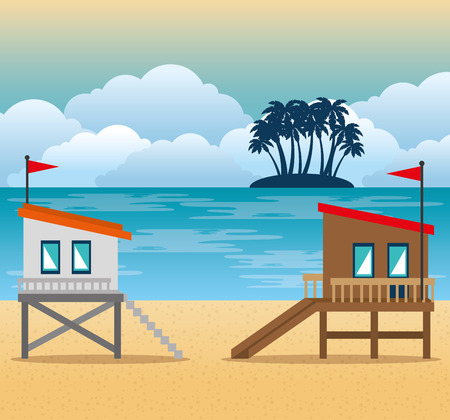 beach with lifeguard tower scene vector illustration design Illustration