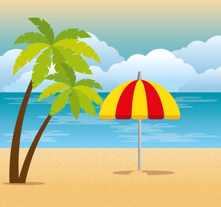tropical beach summer scene vector illustration design Stockfoto - 102631261
