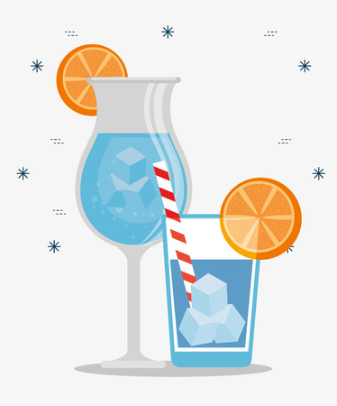 tropical cocktails drinks with oranges vector illustration design