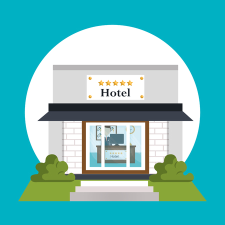exterior hotel building scene vector illustration design