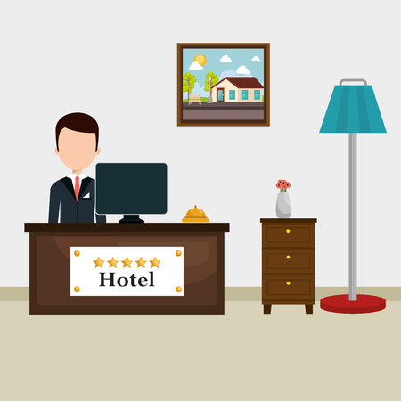 hotel receptionist working avatar vector illustration design