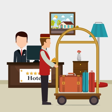 hotel workers avatars characters vector illustration design 일러스트