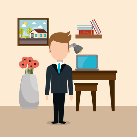 hotel concierge working avatar character vector illustration design