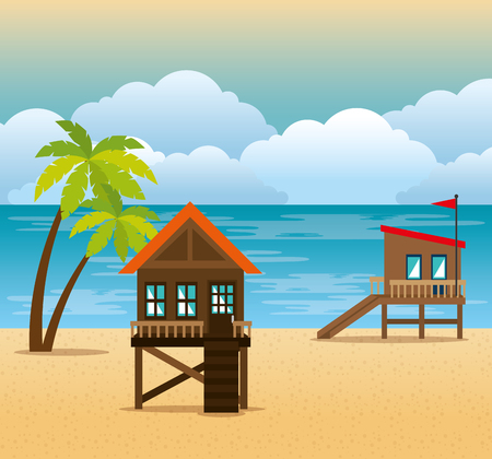beach with lifeguard tower scene vector illustration design Çizim