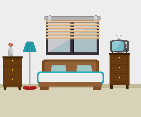 bedroom hotel escene icon vector illustration design