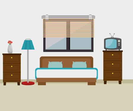 Dormitorio hotel escene icono diseño ilustración vectorial