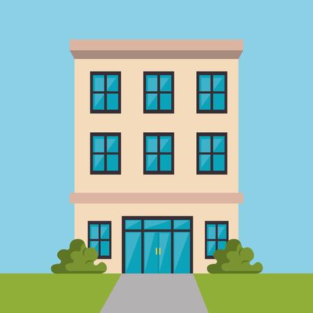 exterior hotel building scene vector illustration design