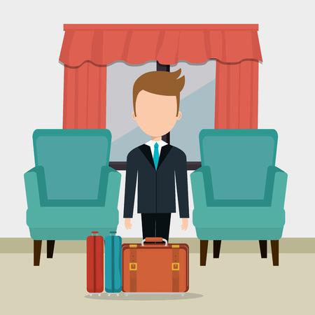 hotel concierge working avatar character vector illustration design