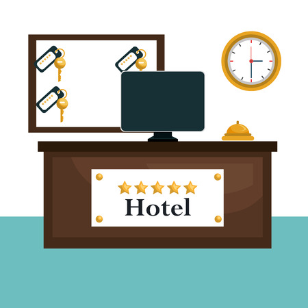 hotel reception scene icons vector illustration design Illustration