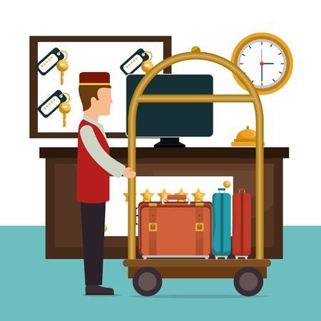bellboy working in the hotel character vector illustration design
