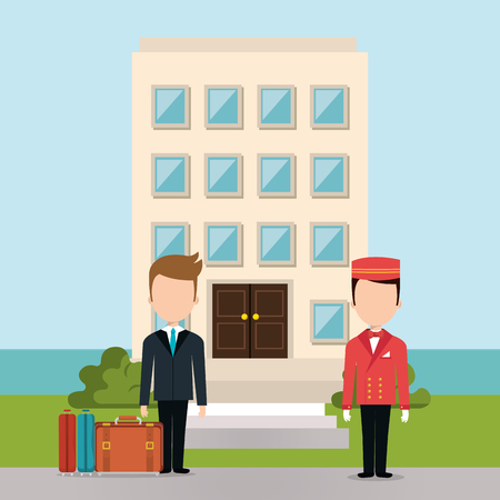 hotel workers avatars characters vector illustration design 向量圖像