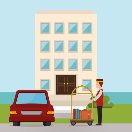 bellboy working in the hotel character vector illustration design Stock Vector - 102631651