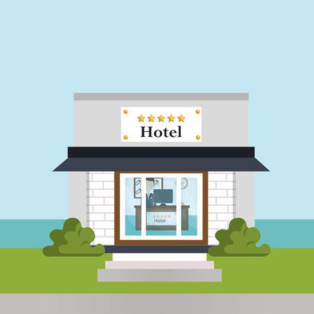 exterior hotel building scene vector illustration design Banco de Imagens - 102633382