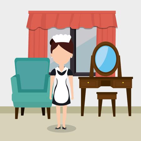 room service woman working in the hotel vector illustration design