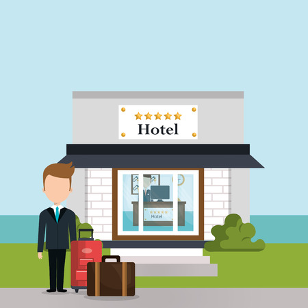 hotel consierge working avatar character vector illustration design