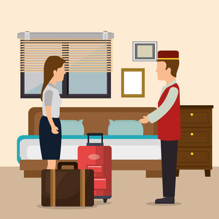 hotel workers avatars characters vector illustration design  イラスト・ベクター素材
