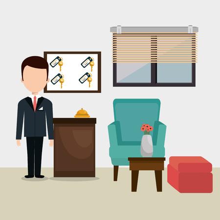 hotel concierge working avatar character vector illustration design Banque d'images - 102633403