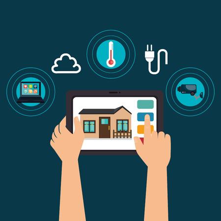 tablet device controlling smart home vector illustration design