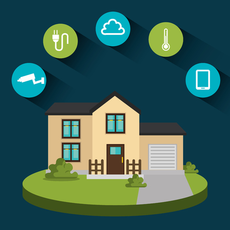 smart home technology set icons vector illustration design