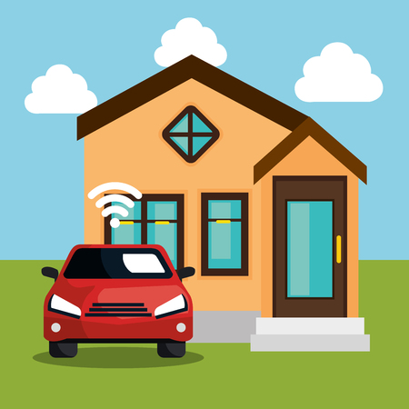 car with wifi signal and house vector illustration design Illustration