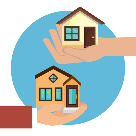 hands lifting houses icon vector illustration design