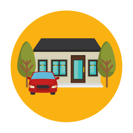 exterior house and car scene vector illustration design