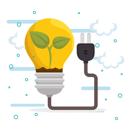 bulb energy ecology icons vector illustration design Illustration