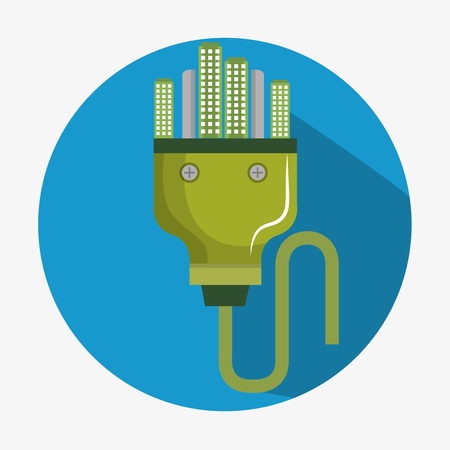 energy plug with green city vector illustration design