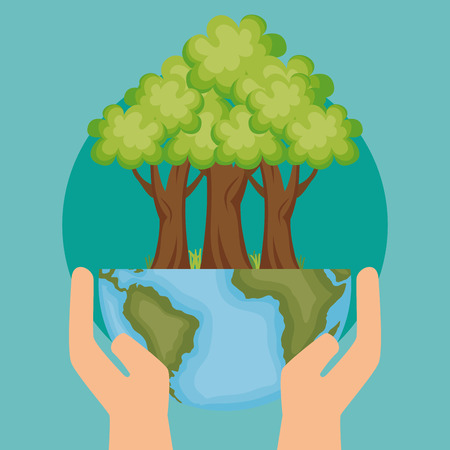Planeta mundial con diseño de ilustración de vector de icono de ecología de árbol