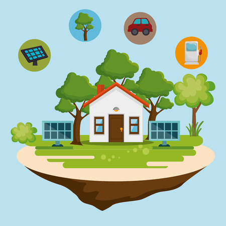 house with save the world icons vector illustration design