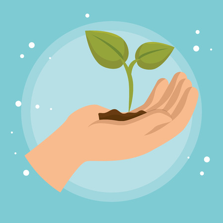 hand lifting plant ecology icon vector illustration design Vettoriali