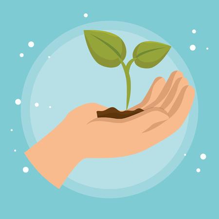 Levantamiento de mano icono de la ecología de la planta, diseño de ilustraciones vectoriales