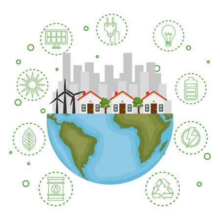 casa con salva il mondo icone illustrazione vettoriale design