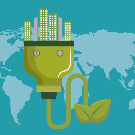energy plug with green city vector illustration design