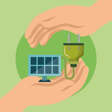 panel solar and energy plug vector illustration design