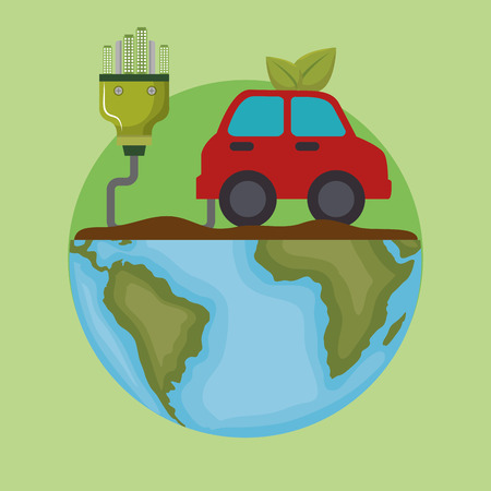 ecology car vehicle icons vector illustration design