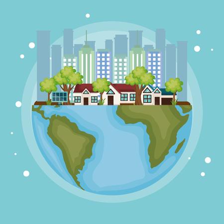 cityscape scene eco friendly vector illustration design