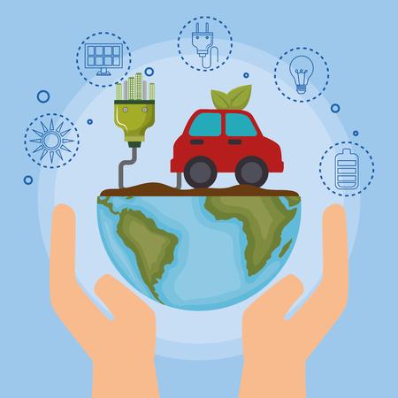 ecology car vehicle icons vector illustration design
