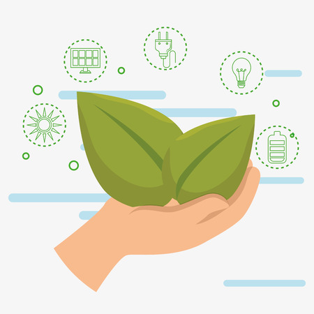 hand with leafs ecology icons vector illustration design