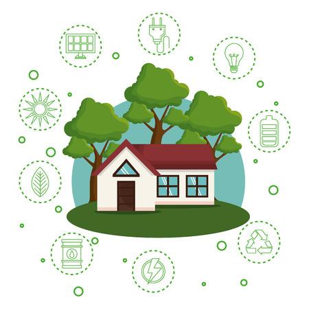 casa con salva il mondo icone illustrazione vettoriale design Vettoriali