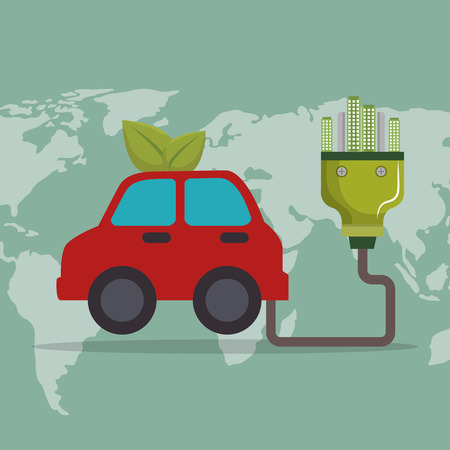 car with ecology plug vector illustration design