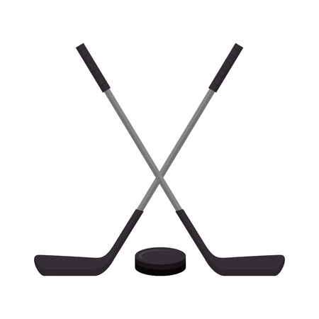 hockey sticks crossed emblem vector illustration design