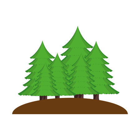 pines trees forest scene vector illustration design Stock Illustratie