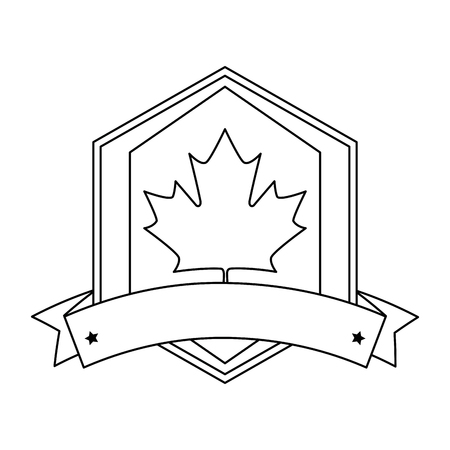 maple leaf with ribbon frame vector illustration design 스톡 콘텐츠 - 102698977