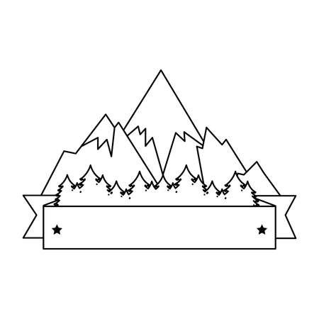 mountains with snow scene with ribbon frame vector illustration design