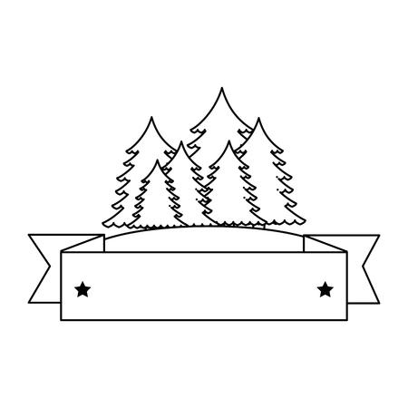 pines trees forest scene with tape frame vector illustration design Illustration