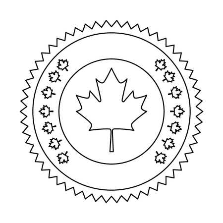 maple leaf seal stamp vector illustration design